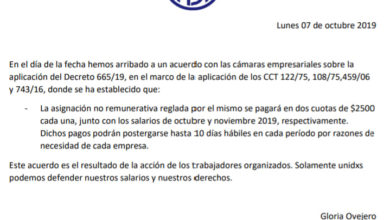 Photo of Comunicado sobre el decreto 665/19